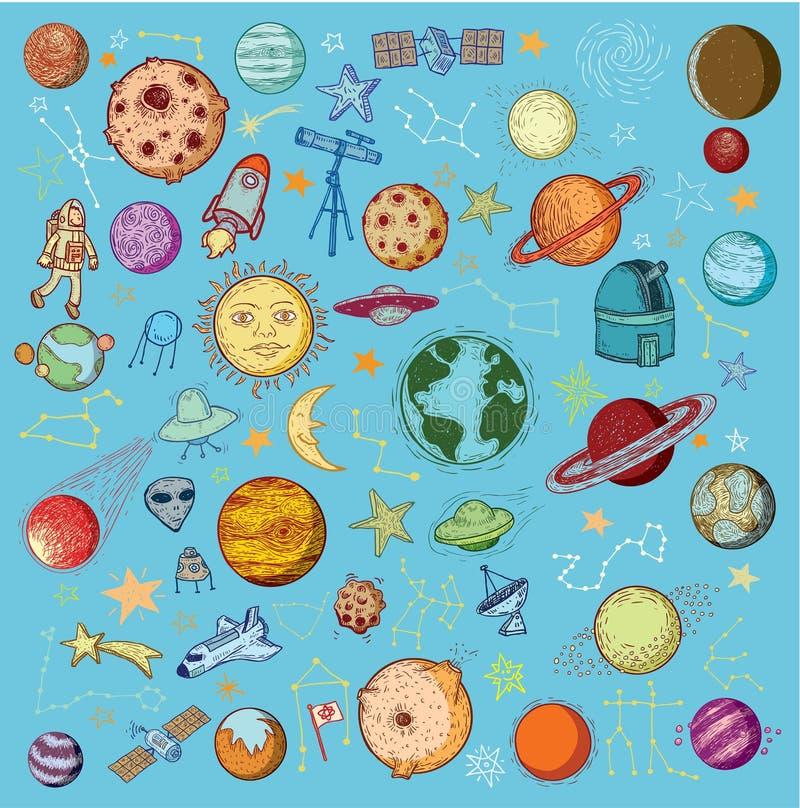 Reeks van planetenpictogram, hand getrokken vectorillustratie vector illustratie