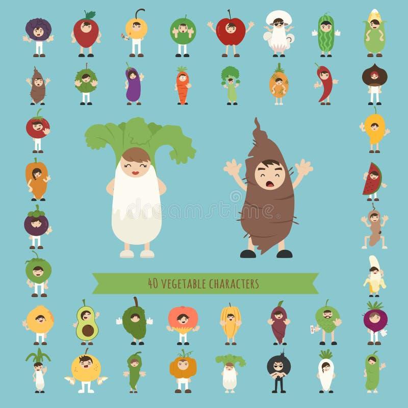 Reeks van 40 plantaardige kostuumkarakters vector illustratie