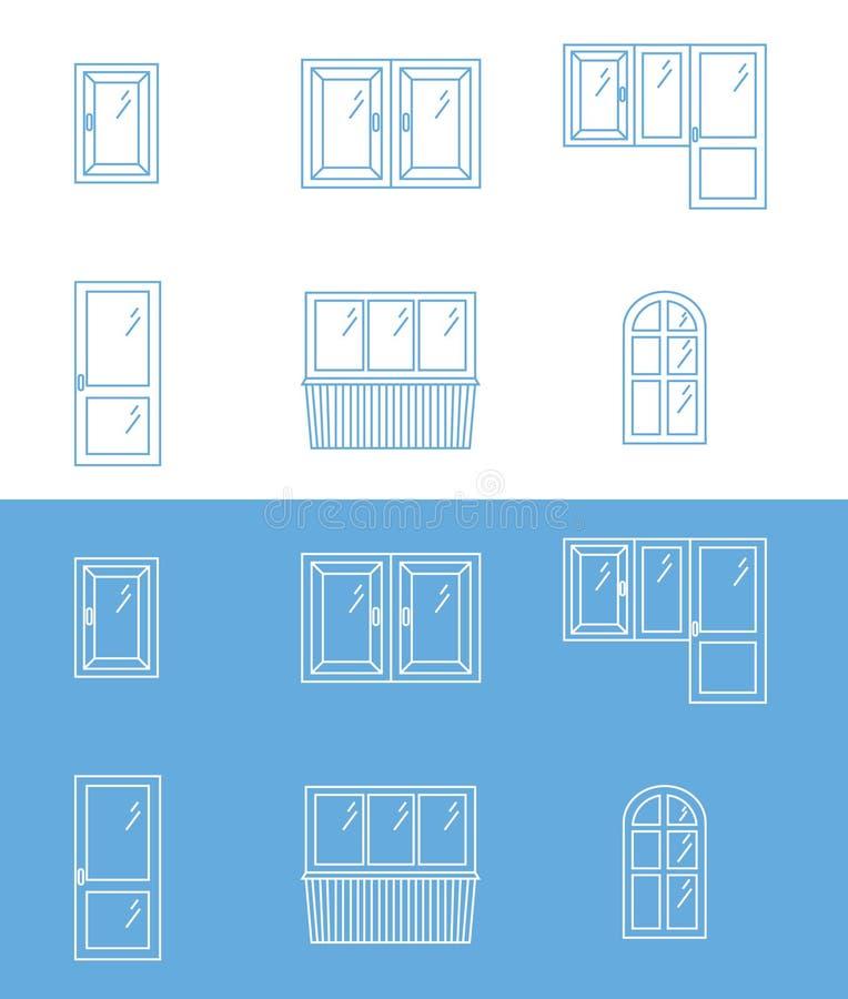 Reeks van plastic venster, de lineaire pictogrammen van het balkonoverzicht royalty-vrije illustratie