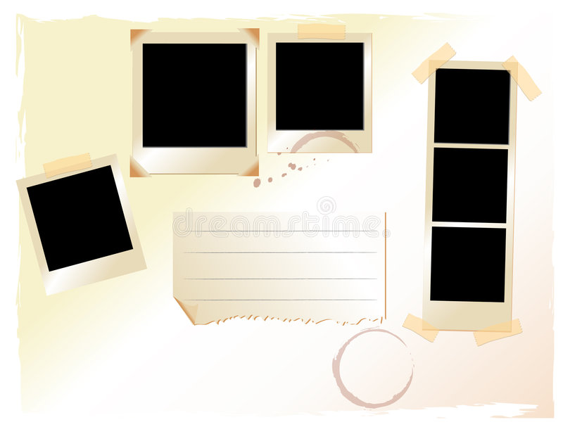 Reeks van polaroid pics opstelling