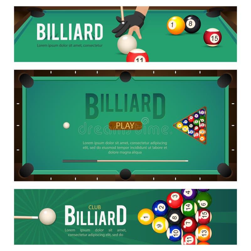 Reeks van pool, biljart, de banners van snookertoernooien stock illustratie