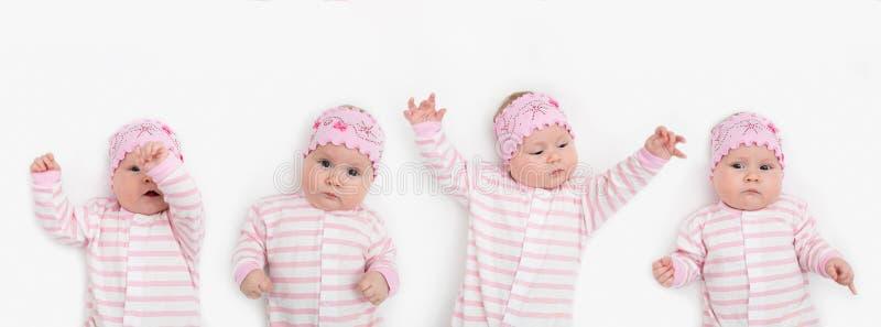 Reeks van portret van aanbiddelijke 3 van het babymaanden oud meisje die met grappige uitdrukking hoofdband dragen stock fotografie