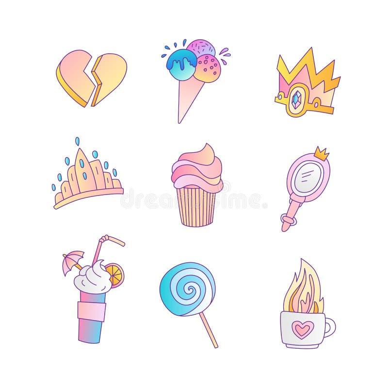 Reeks van prinses en van de meisjes leuk manier pictogram Mooie vectorreeks hand getrokken prinseselementen - cocktail voor royalty-vrije illustratie