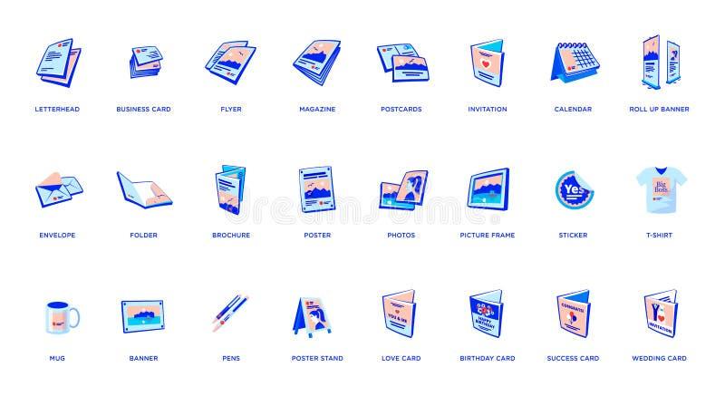 Reeks van printoutbevordering de brochure van reclamematerialen, kaart, vlieger, tijdschrift, affiche, banner royalty-vrije illustratie