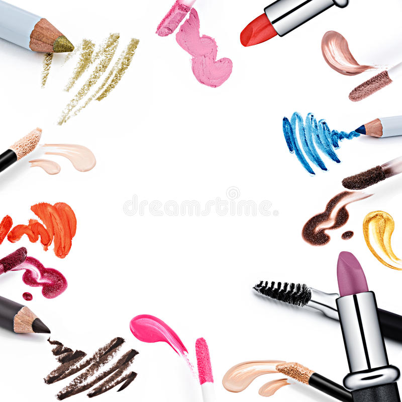 Reeks van professionele kosmetische borstels en bevorderings vierkant kader stock illustratie