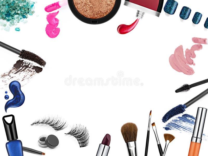 Reeks van professionele kosmetische borstels en bevorderings vierkant kader royalty-vrije illustratie