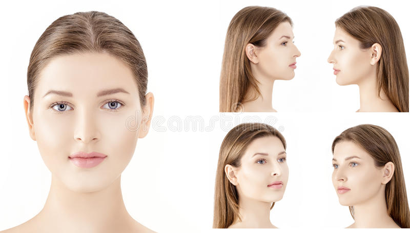 Reeks van profiel en voorportretten van jonge die vrouw op witte achtergrond worden geïsoleerd cosmetology royalty-vrije stock afbeeldingen