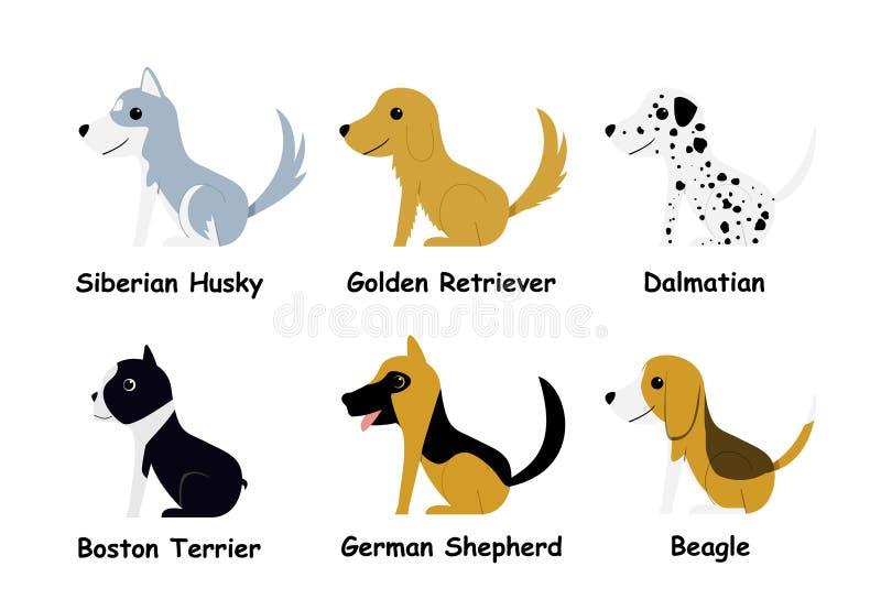 Reeks van puppyhond in vlakke stijl, zijaanzicht, vector stock illustratie