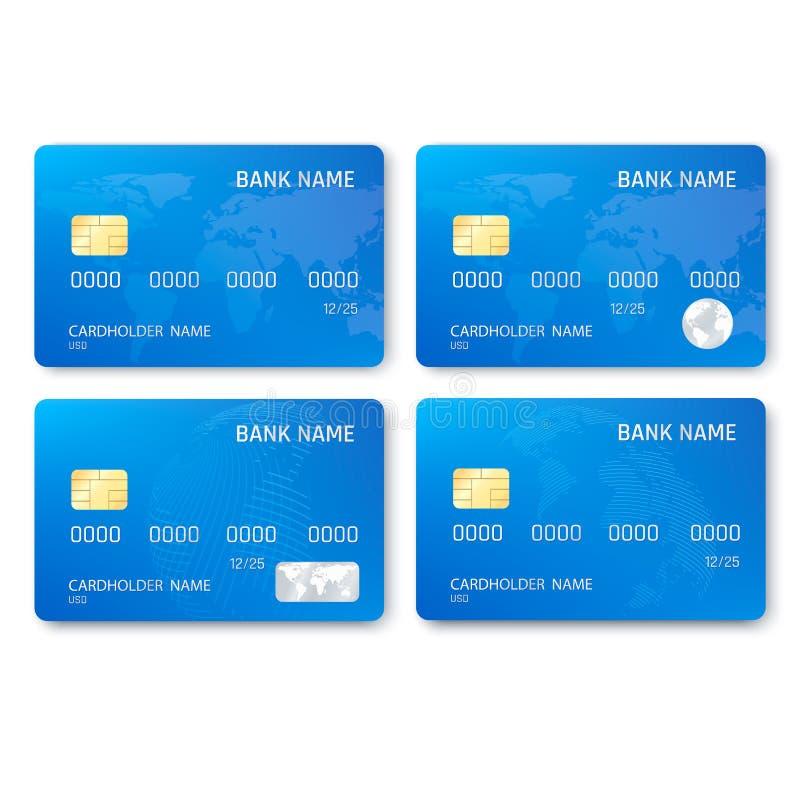 Reeks van realistisch creditcardmalplaatje Plastic blauwe creditcards met spaander en kaartbeeld Vector illustratie royalty-vrije illustratie