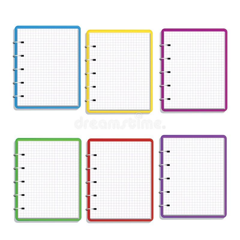 Reeks van realistisch kleurrijk spiraalvormig notitieboekje met vierkante die net blanco pagina's op witte achtergrond worden geï stock illustratie