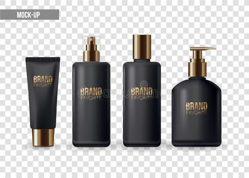 Reeks van realistisch pakket voor luxecosmetische product plastic containers met gouden GLB: fles voor vloeistof, huidzorg stock illustratie