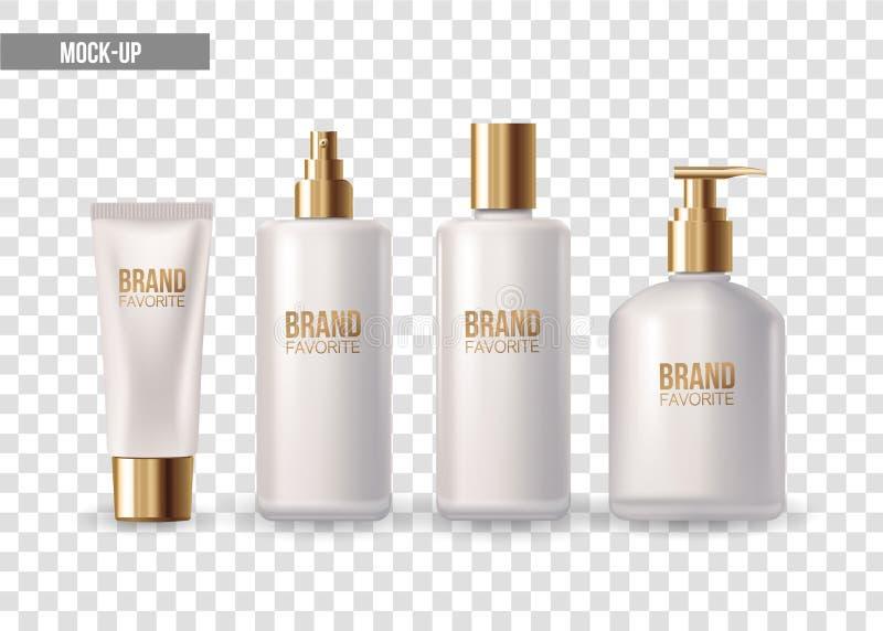 Reeks van realistisch pakket voor luxecosmetische product plastic containers met gouden GLB: fles voor vloeistof, huidzorg royalty-vrije illustratie