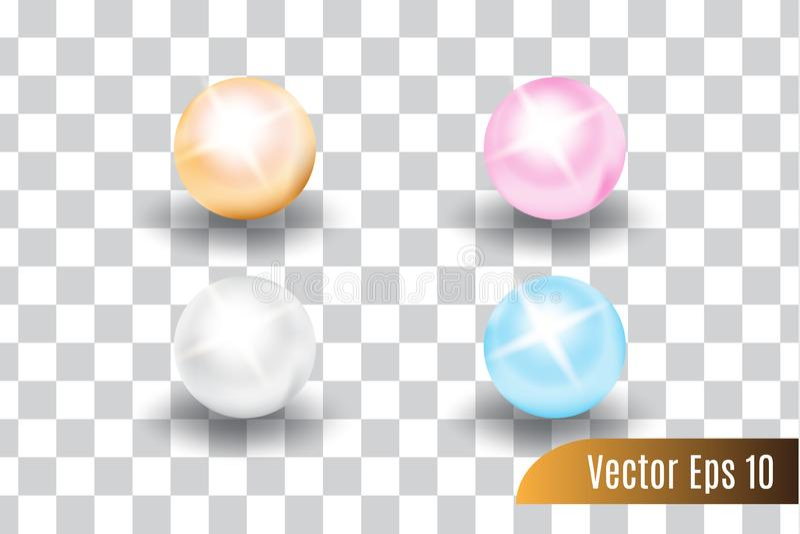 Reeks van realistische 3d vector kleurrijk van parels stock illustratie