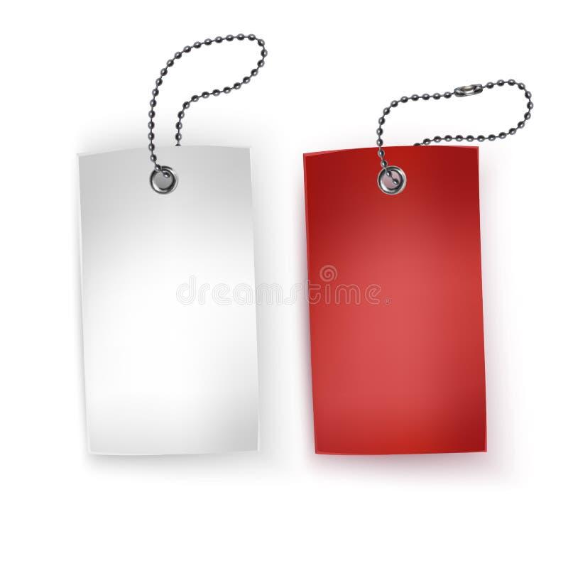 Reeks van realistische de verkoop vectorillustratie markeringen van de bedrijfs lege kleinhandelskaartkorting Rode en witte verko vector illustratie