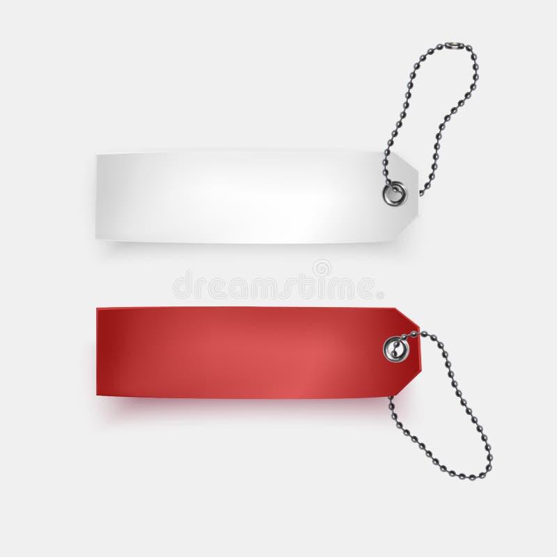 Reeks van realistische de verkoop vectorillustratie markeringen van de bedrijfs lege kleinhandelskaartkorting Rode en witte verko stock illustratie