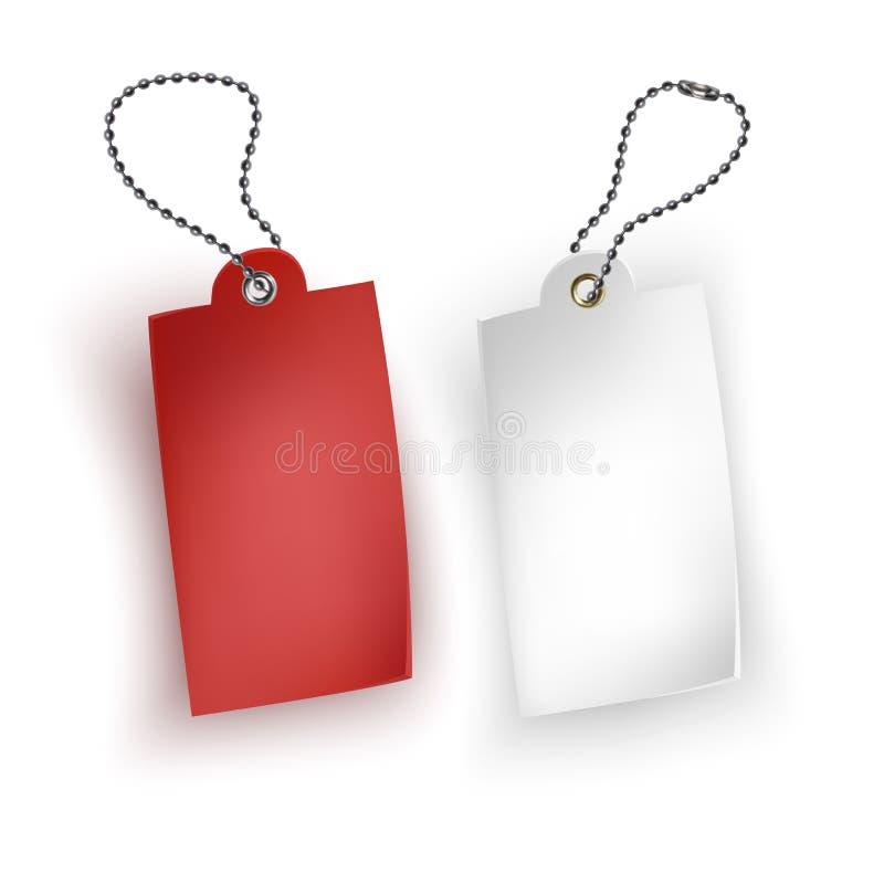 Reeks van realistische de verkoop vectorillustratie markeringen van de bedrijfs lege kleinhandelskaartkorting Rode en witte verko royalty-vrije illustratie