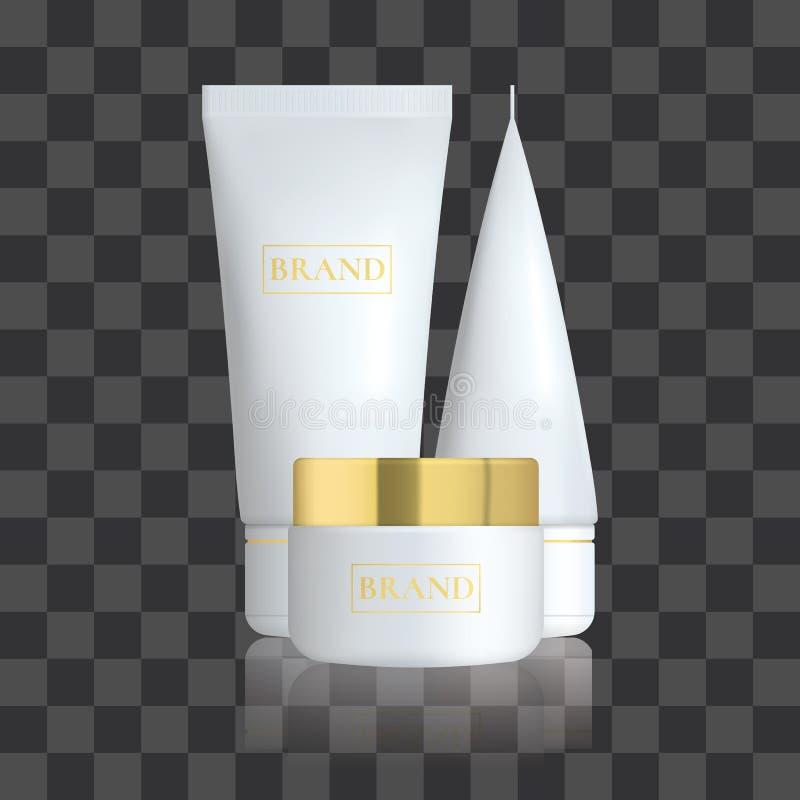 Reeks van Realistische kosmetische fles met bezinning Kosmetische pakketinzameling voor bevorderingsroom, soepen, schuim, shampoo vector illustratie