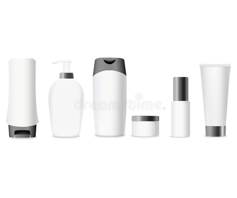 Reeks van Realistische kosmetische fles op een witte achtergrond Kosmetische pakketinzameling voor room, soepen, schuim, shampoo, vector illustratie