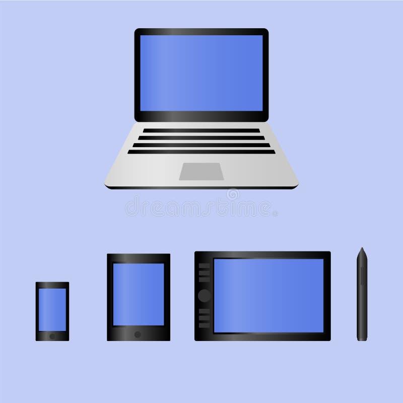 Reeks van realistische laptop, tabletcomputer en de mobiele tablet van de telefoon grafische pen voor illustrator en ontwerpervec stock illustratie