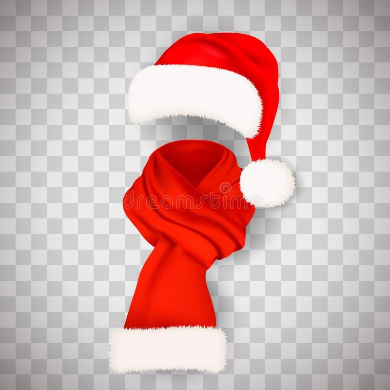 Reeks van realistische rode Santa Claus-hoed met de pluizige lange die sjaal van de bontpompon aand op transparante achtergrond w vector illustratie