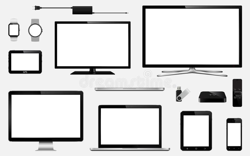 Reeks van realistische slimme TV, computermonitors, laptops, tablet, mobiele telefoon, slim horloge, usb flitsaandrijving, gps na vector illustratie