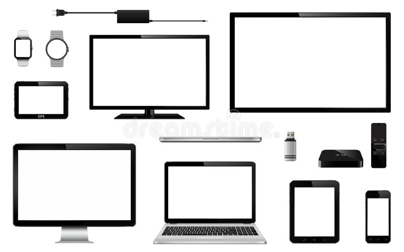 Reeks van realistische TV, computermonitor, laptops, tablet, mobiele telefoon, slim horloge, usb flitsaandrijving, GPS-het appara royalty-vrije illustratie