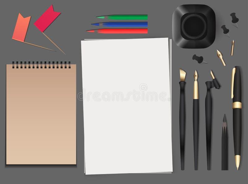 Reeks van realistische vectorkantoorbehoeften stock illustratie
