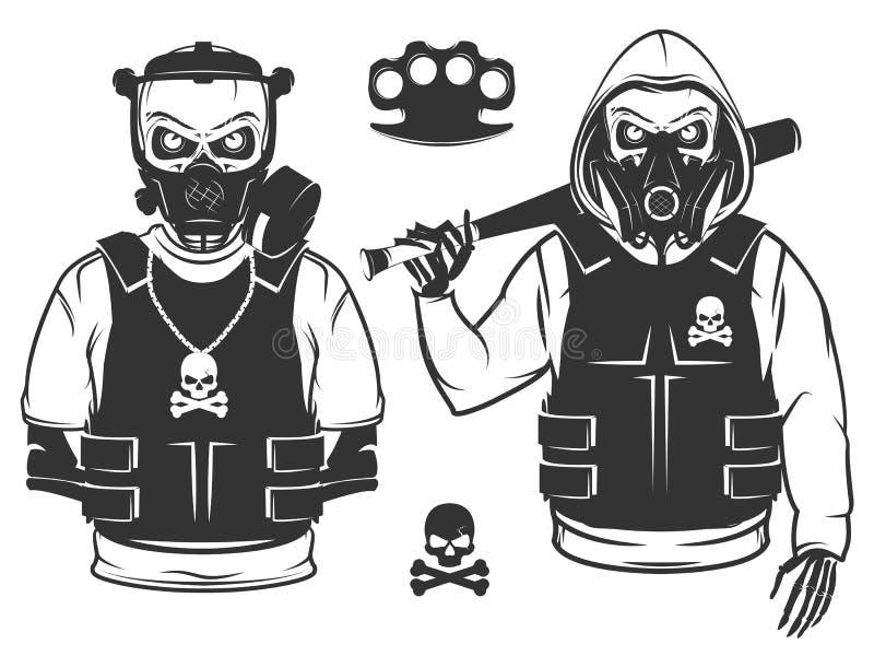 Reeks van rebellenschedel en revolutie zwart-wit skelet vector illustratie