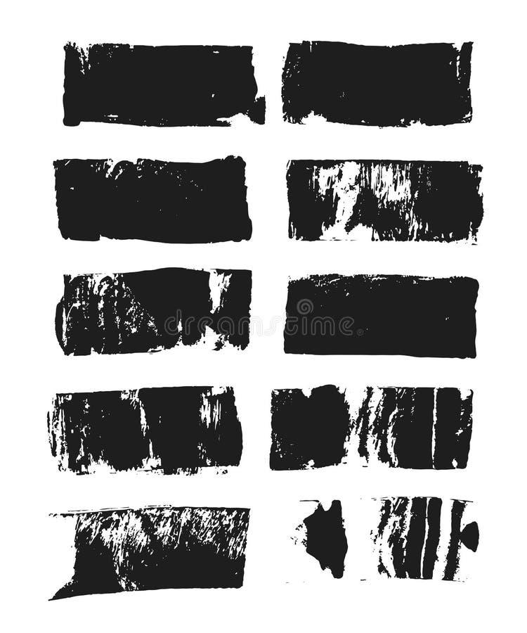 Reeks van rechthoekig tekstvakje De streep van de Grungeverf Vectorborstelslag Zwarte geïsoleerde penseelinzameling Vector vector illustratie