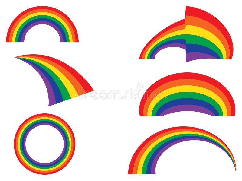 Reeks van regenboog stock illustratie