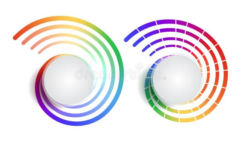 Reeks van regenboog om banners met plaats voor tekst Het voorwerp is afzonderlijk van de achtergrond Vectorelement voor infograph vector illustratie