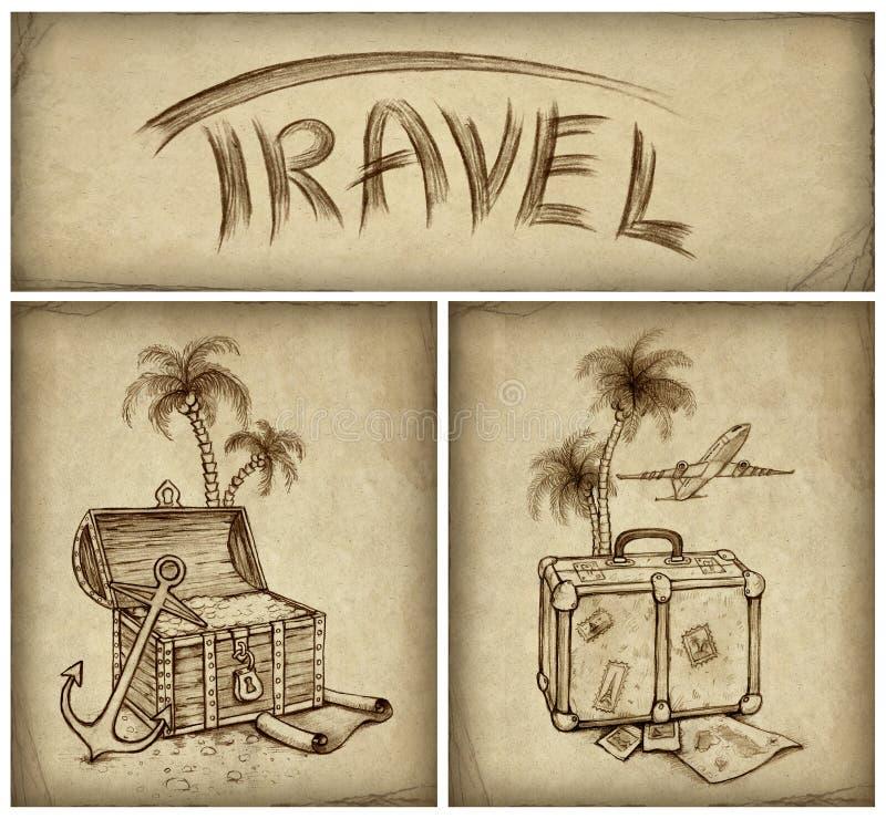 Reeks van reisillustratie stock illustratie