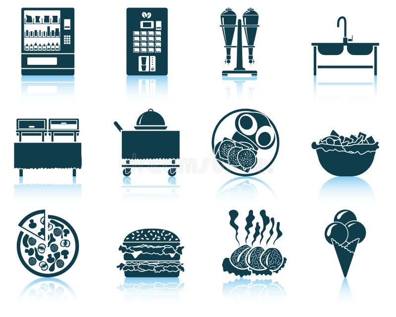 Reeks van restaurantpictogram stock illustratie