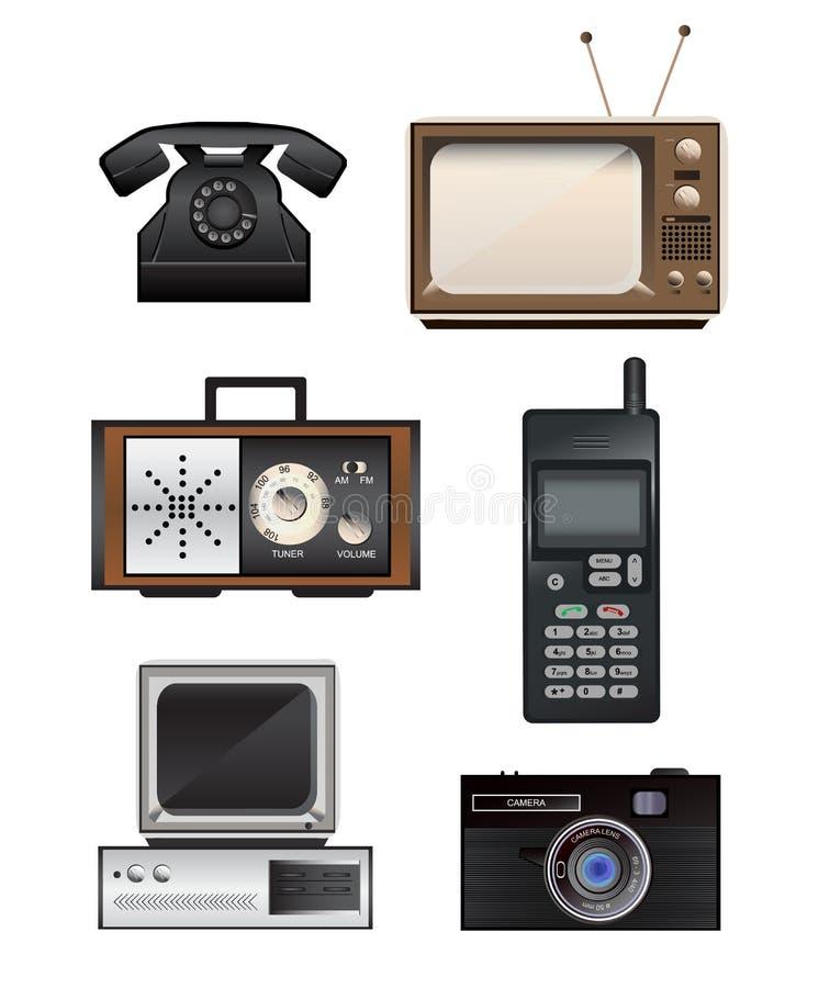 Reeks van retro elektronika vector illustratie