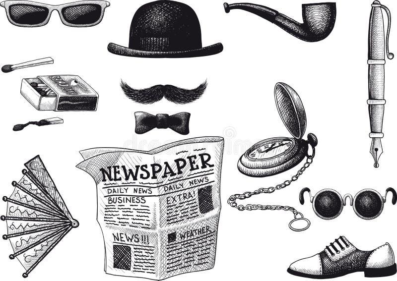 Reeks van retro hipster stock illustratie