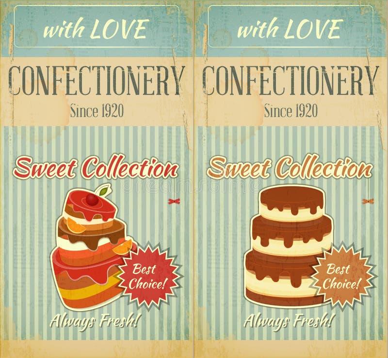 Reeks van Retro Menu met Cake royalty-vrije illustratie