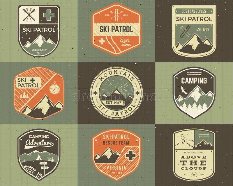 Reeks van Retro stijl Ski Club, Patrouilleetiketten royalty-vrije illustratie