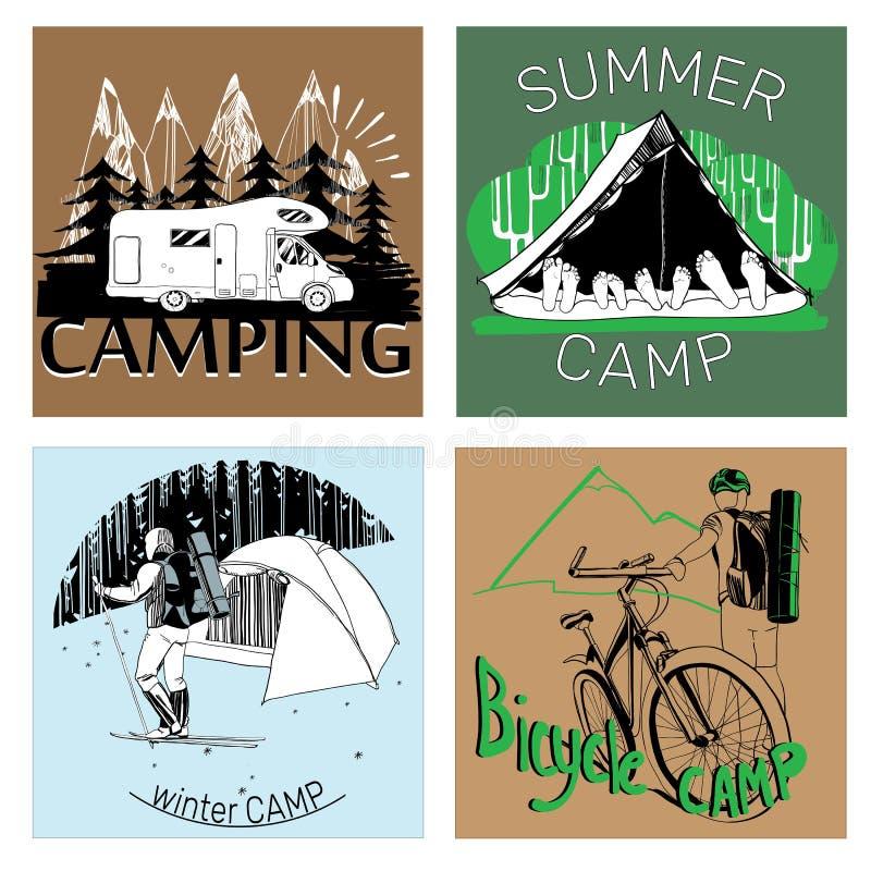 Reeks van retro uitstekende van het kampetiketten en embleem grafiek stock illustratie