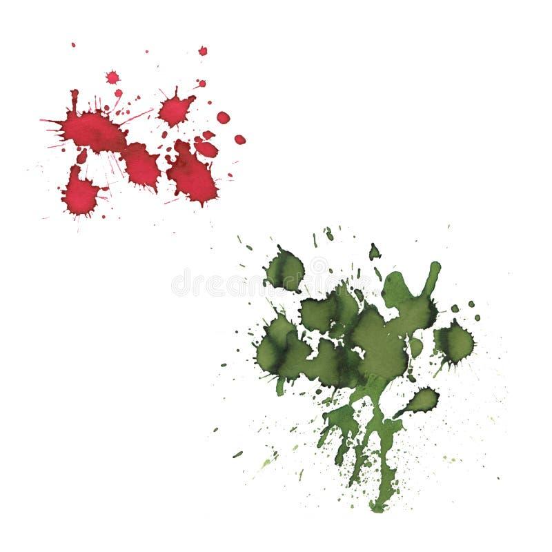 Reeks van rode en groene de plonsvlek van de kleurenwaterverf vector illustratie