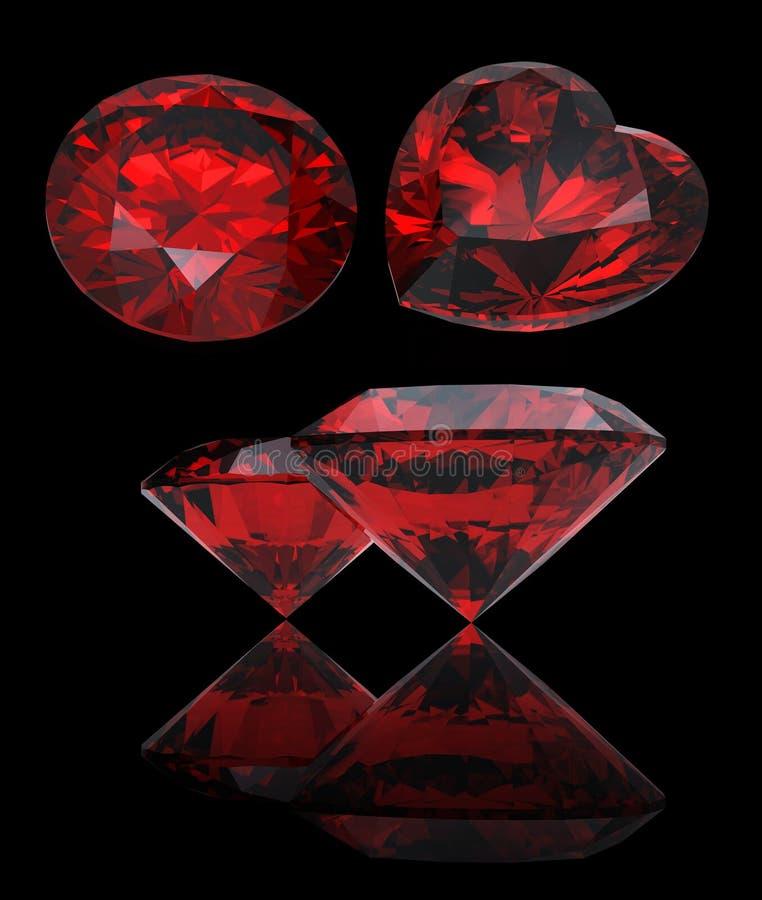 Reeks van rode hart gevormde robijn en granaat stock illustratie