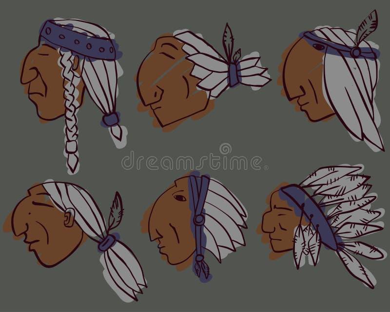Reeks van 6 rode Indische gekleurde hoofden royalty-vrije stock foto's