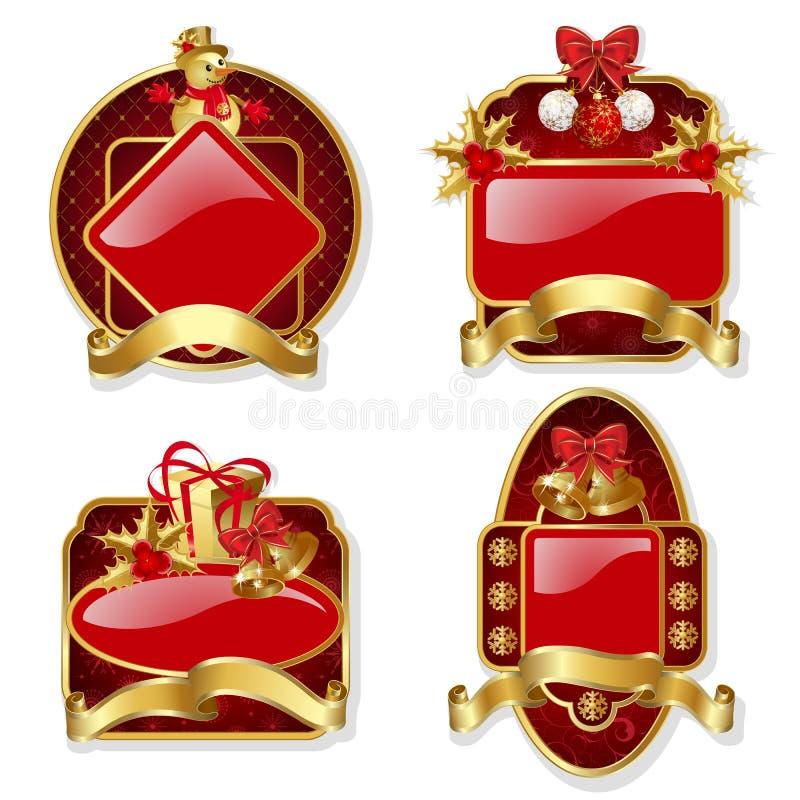 Reeks van rode Kerstmisetiketten stock illustratie