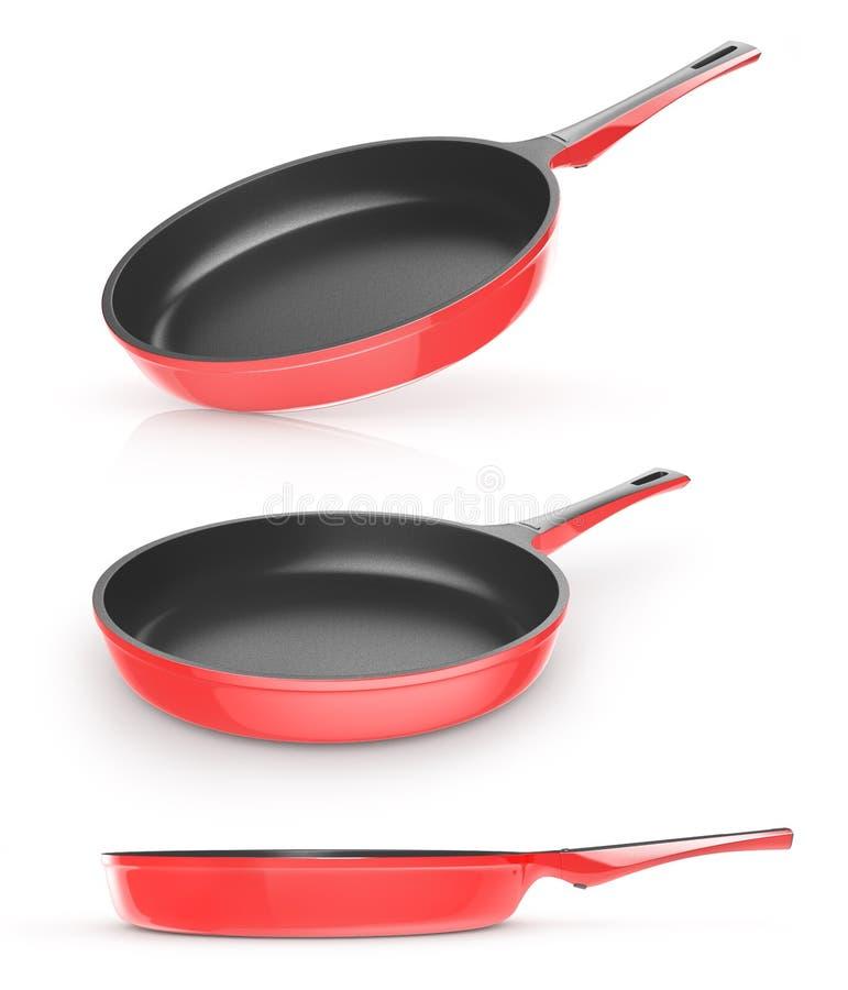 Reeks van rode pan met ceramische deklaag royalty-vrije illustratie