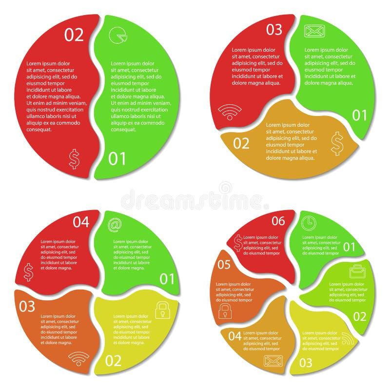 Reeks van rond infographic diagram stock illustratie