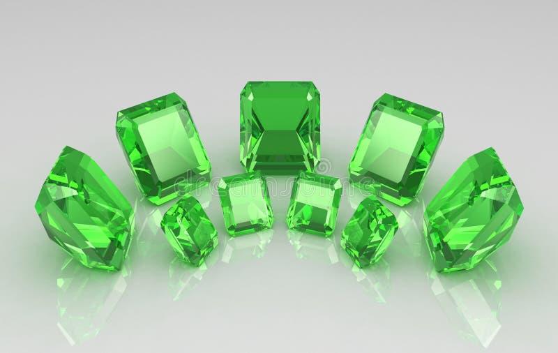 Reeks van ronde smaragd zeven op glanzende oppervlakte vector illustratie