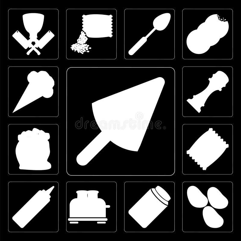 Reeks van Roomijs, Aardappels, Honing, Broodrooster, Mosterd, Spaanders, Flou royalty-vrije illustratie