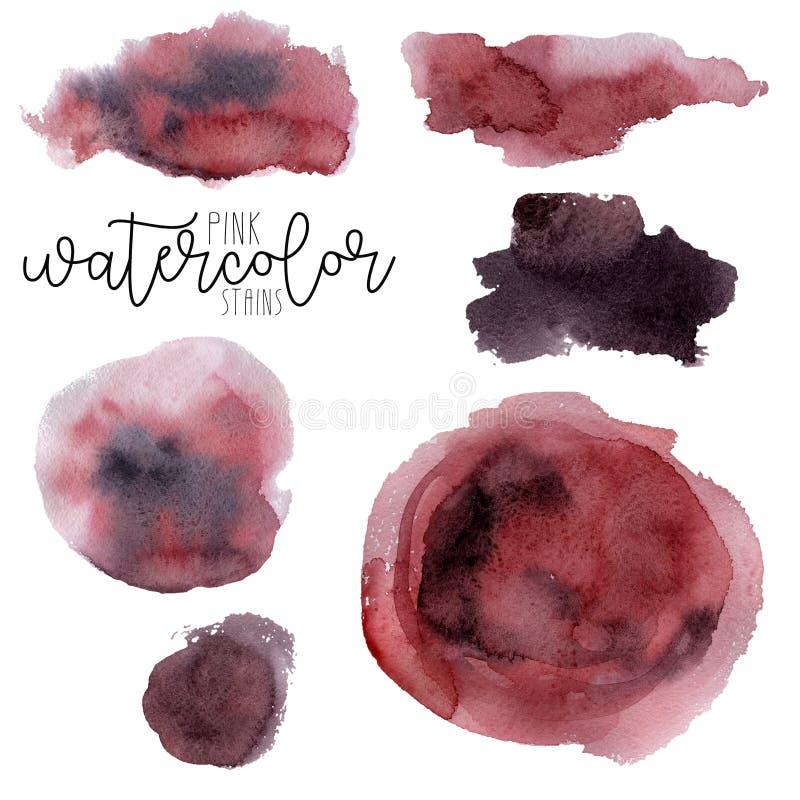 Reeks van roze en purpere waterverfvlek royalty-vrije illustratie