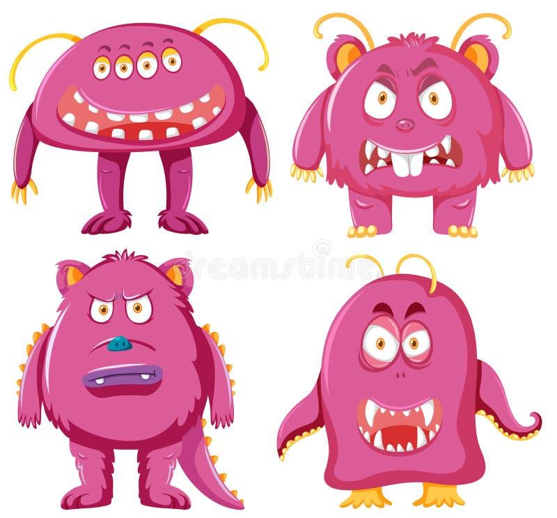 Reeks van roze monsterkarakter vector illustratie