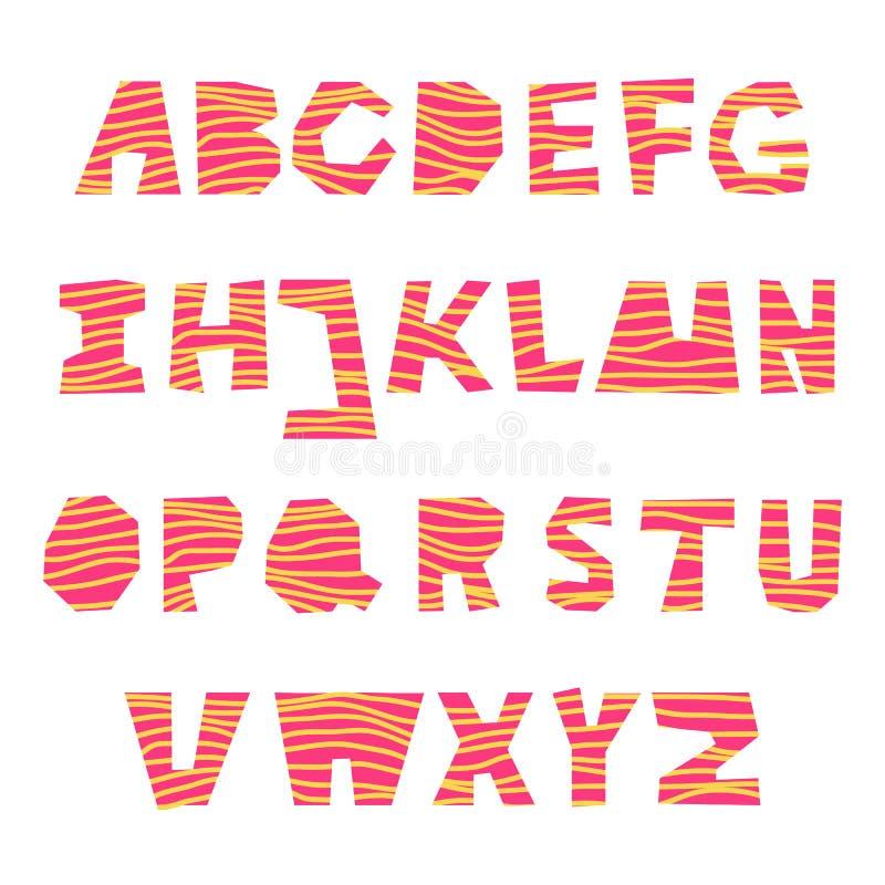 Reeks van roze vectorbriefhoofd A-Z met houten effect vector illustratie