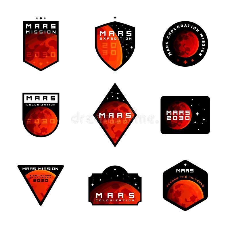 Reeks van Ruimteopdracht aan de vectoremblemen van Mars stock illustratie